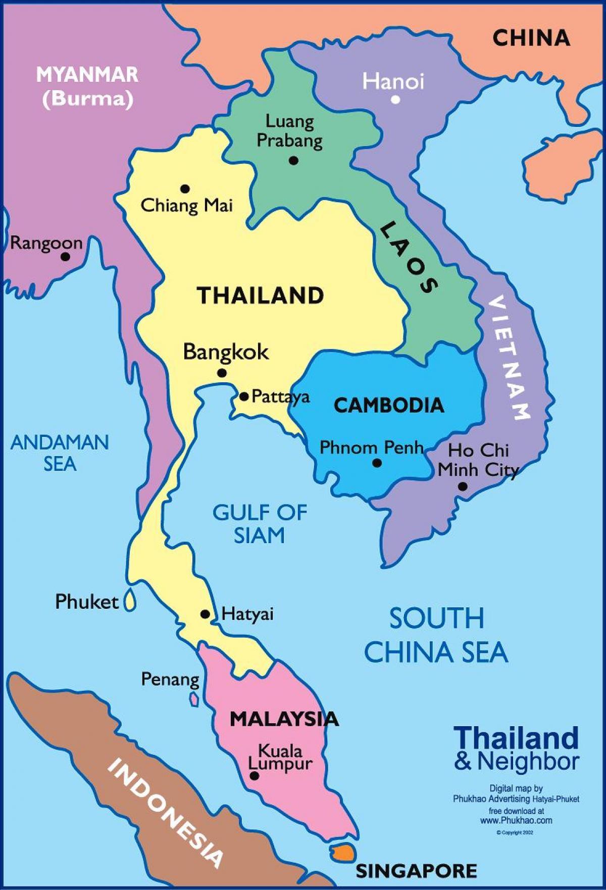 Karta Centrala Thailand.Bangkok Thailand Karta Bangkok Med Thai Karta Thailand